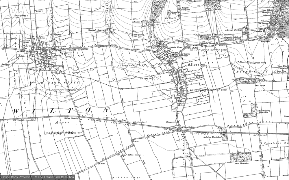 Old Map of Historic Map covering Allerston Loft Marishes in 1889