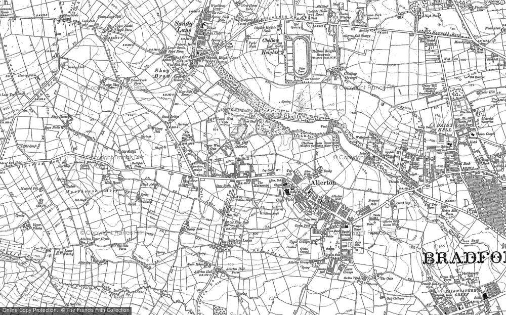 Old Map of Historic Map covering Bailey Fold in 1906