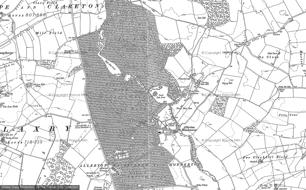 Old Map of Historic Map covering Allerton Mauleverer in 1892