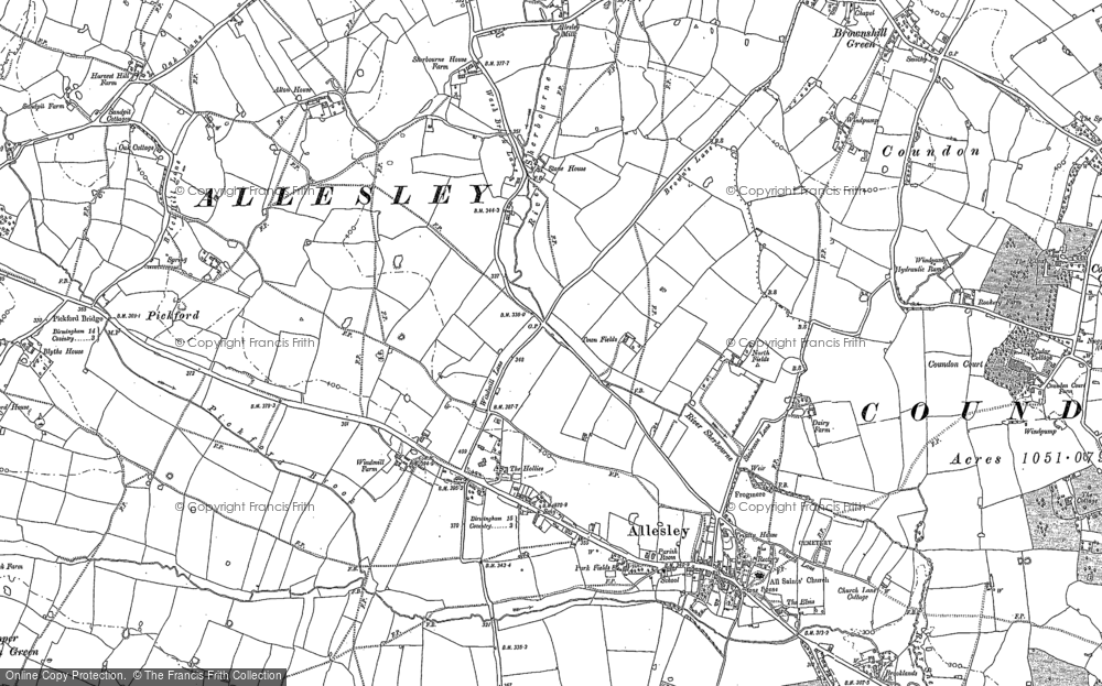 Old Map of Allesley, 1887 in 1887