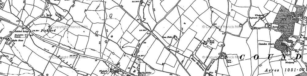 Old map of Allesley in 1887
