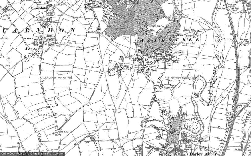 Old Map of Historic Map covering Allestree Park in 1881
