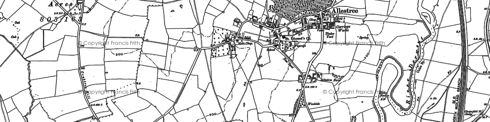Old map of Allestree Park in 1881