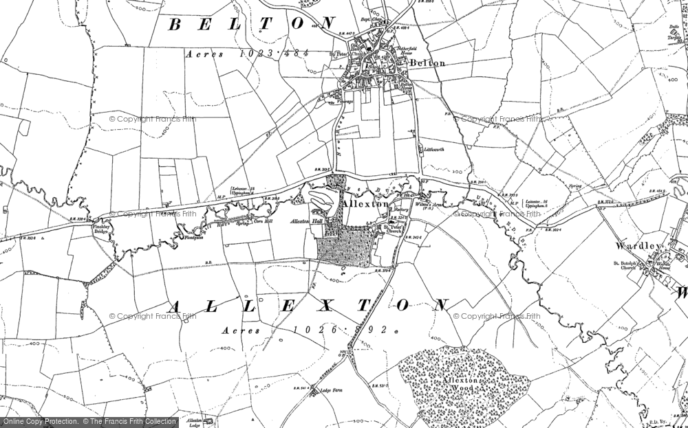 Old Map of Historic Map covering Allexton Lodge in 1902