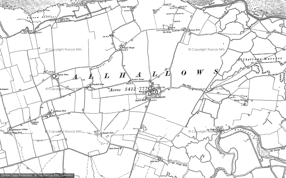 Old Map of Allhallows, 1895 - 1906 in 1895