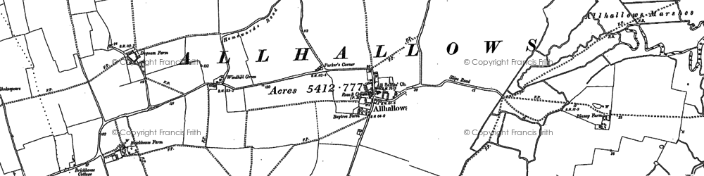 Old map of Allhallows-on-Sea in 1895