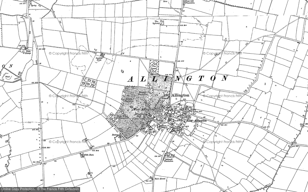 Old Map of Allington, 1887 in 1887