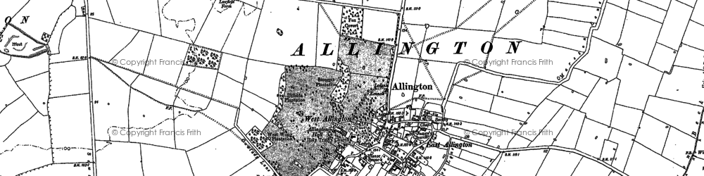Old map of Allington in 1887