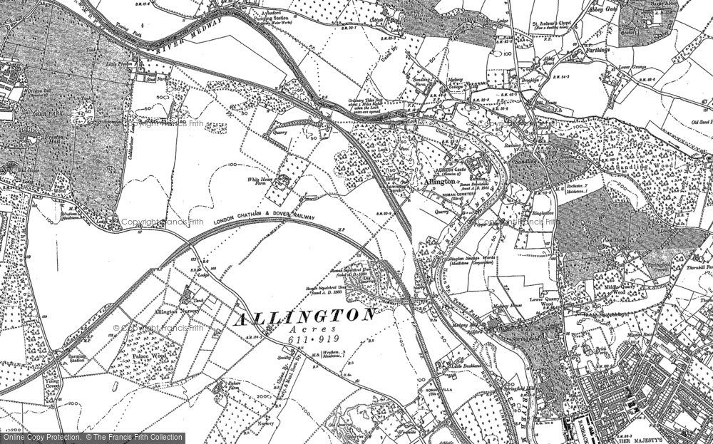 Map of Allington, 1895 - 1896