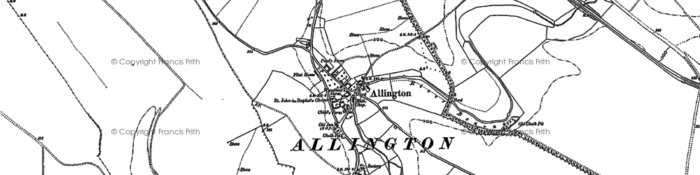 Old map of Allington in 1923