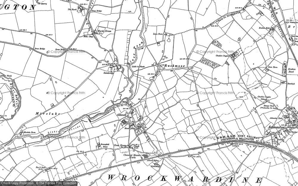 Old Map of Allscott, 1881 in 1881