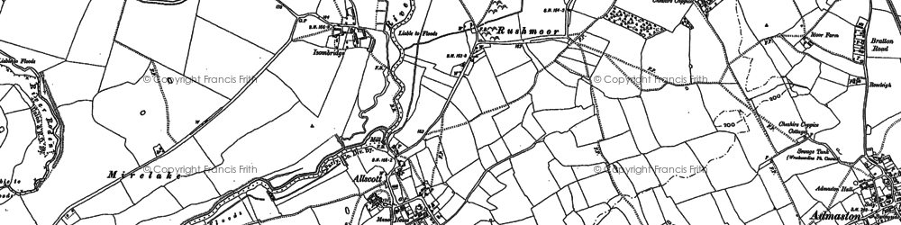 Old map of Allscott in 1881