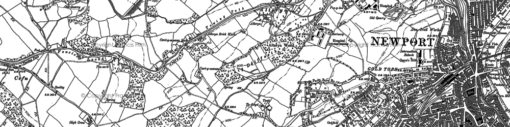 Old map of Pye Corner in 1900