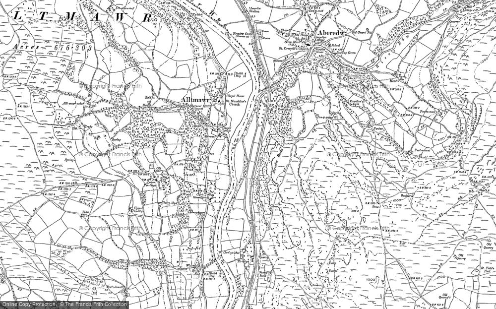 Old Map of Historic Map covering Abernant in 1902