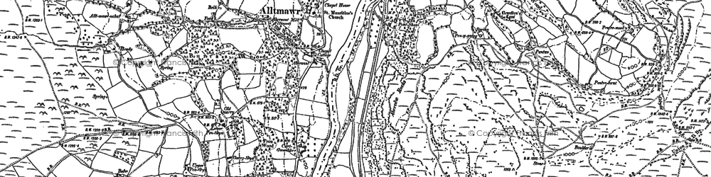 Old map of Aberedw in 1902
