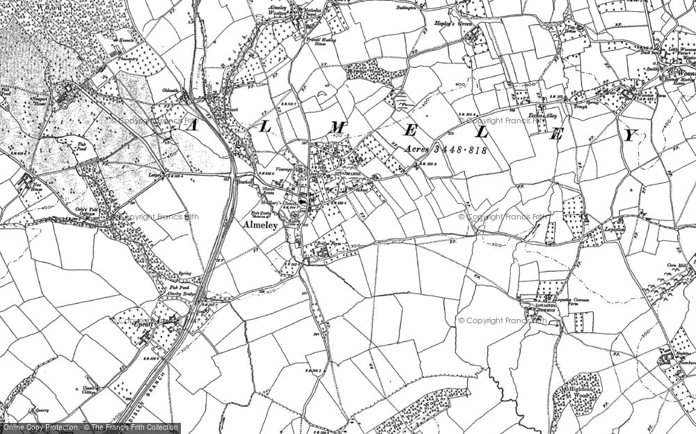 Old Map of Historic Map covering Lemore Manor in 1885