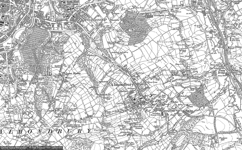 Old Map of Almondbury, 1888 - 1892 in 1888