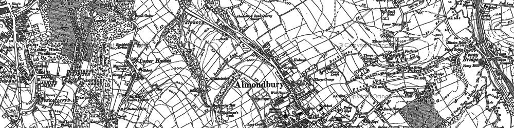 Old map of Almondbury in 1888