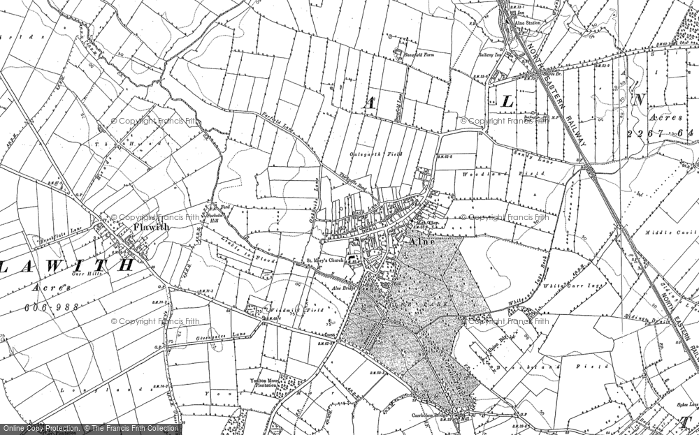 Old Map of Historic Map covering Aldwark Moor in 1891