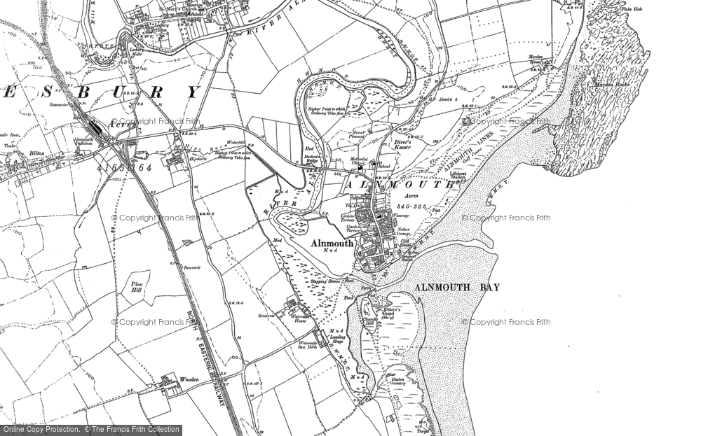 Old Map of Alnmouth, 1896 - 1897 in 1896