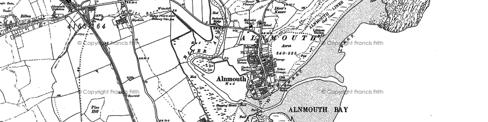 Old map of Alnmouth in 1896