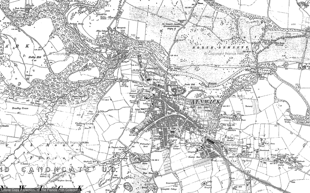 Old Map of Historic Map covering Alnwick Moor in 1897