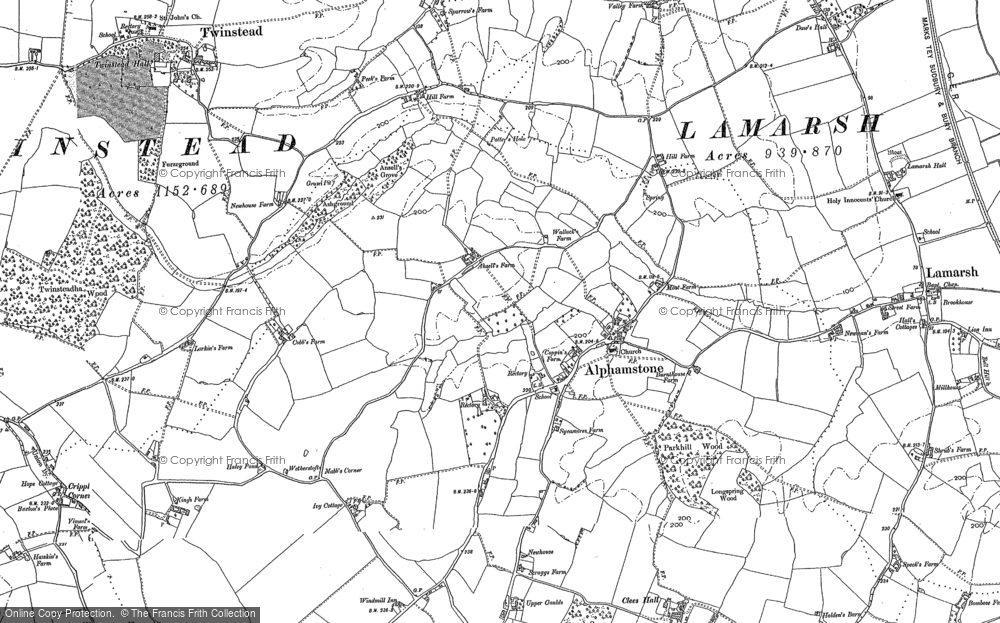 Old Map of Alphamstone, 1896 - 1902 in 1896