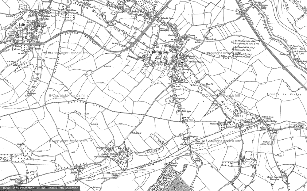 Old Map of Alphington, 1888 in 1888