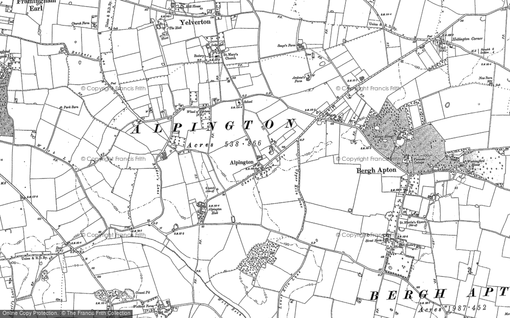 Old Map of Alpington, 1881 - 1884 in 1881