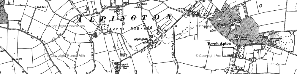 Old map of Alpington in 1881