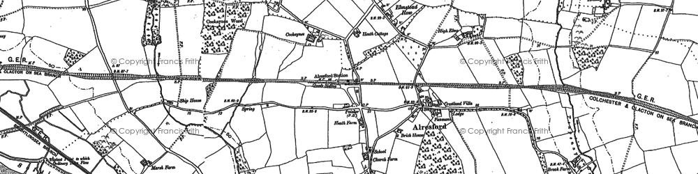 Old map of Alresford Hall in 1896