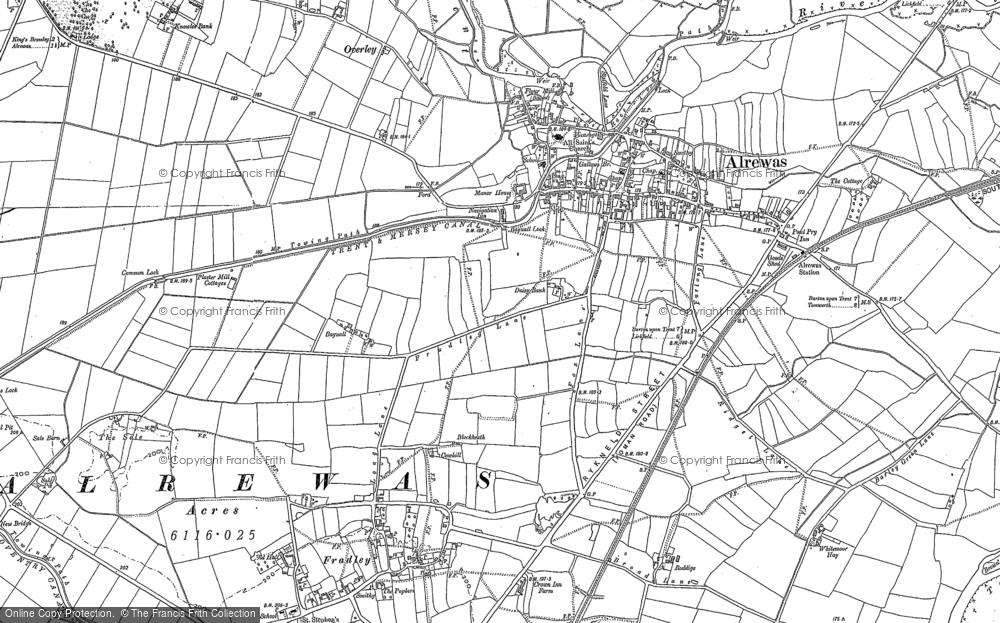 Map of Alrewas, 1882