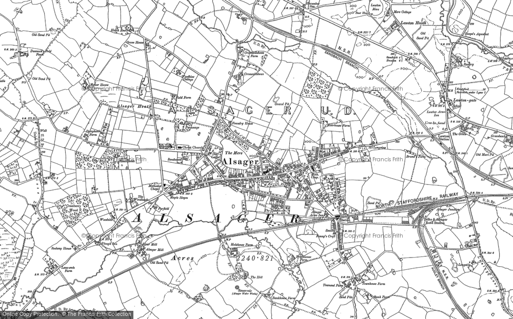 Old Map of Historic Map covering Lawton Heath End in 1908