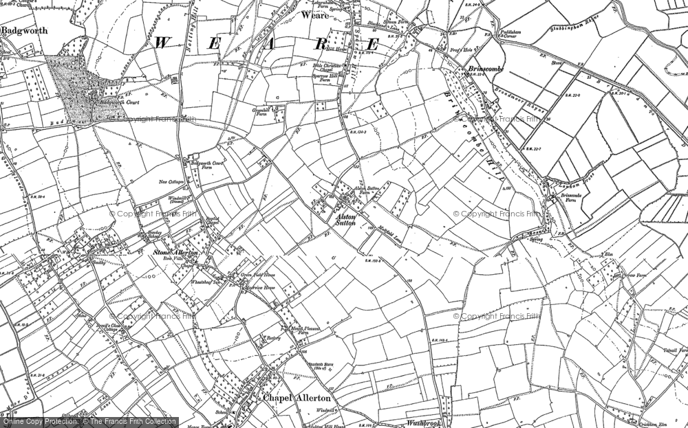 Old Map of Alston Sutton, 1884 in 1884