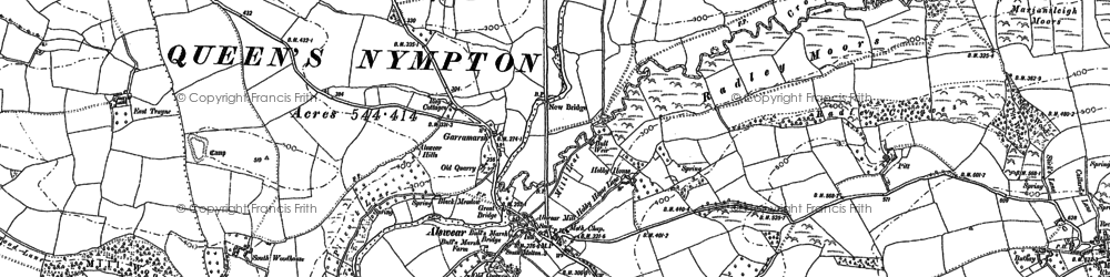 Old map of Yealmacott in 1886