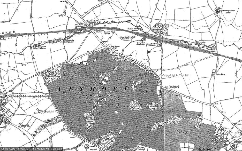 Old Map of Historic Map covering Althorp Park in 1884
