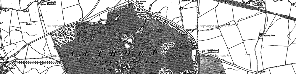 Old map of Althorp in 1884