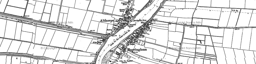 Old map of Althorpe in 1885
