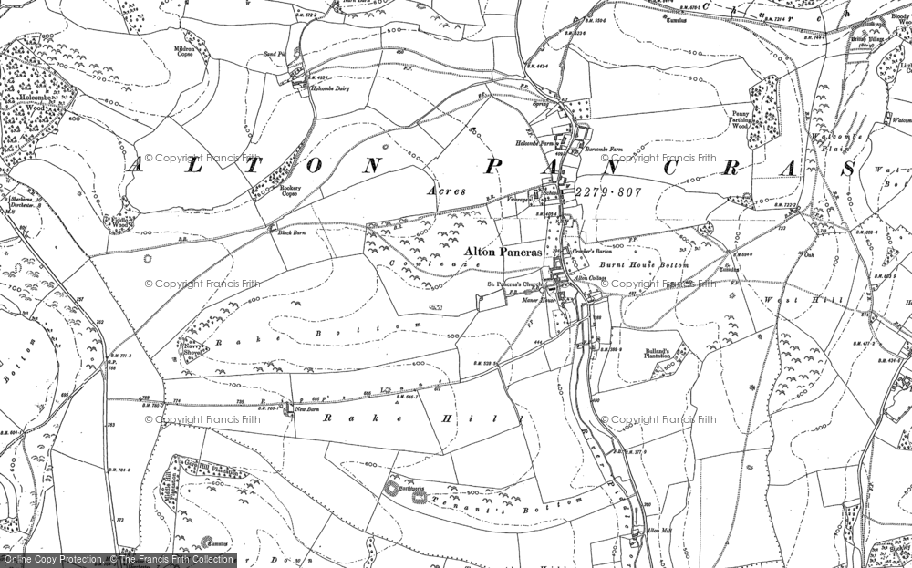 Old Map of Alton Pancras, 1887 in 1887
