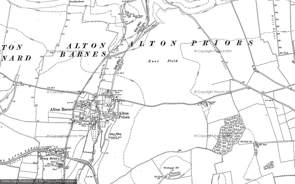 Old Map of Historic Map covering Adam's Grave in 1899