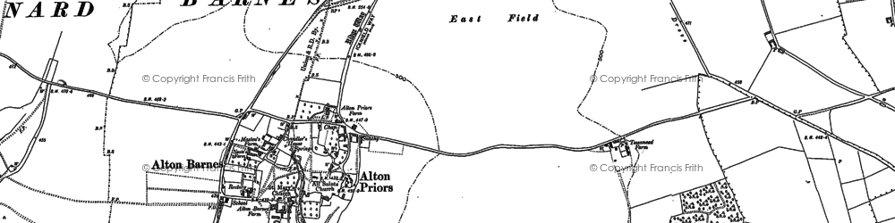 Old map of Alton Priors in 1899