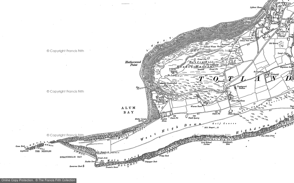 Old Map of Historic Map covering The Needles in 1907