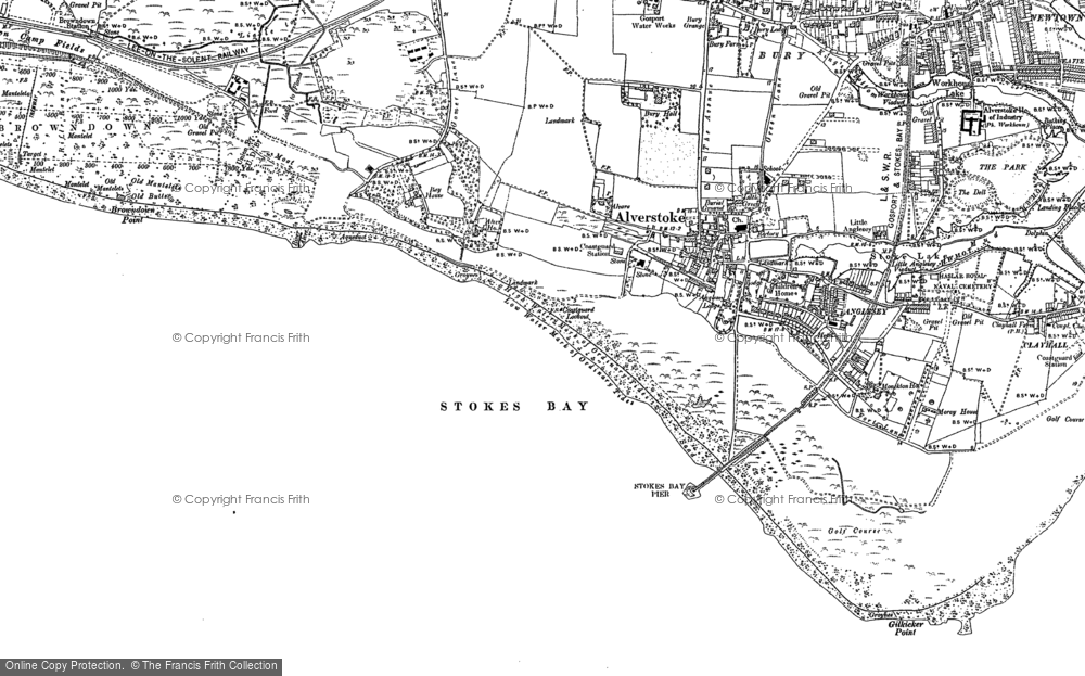 Old Map of Alverstoke, 1907 - 1908 in 1907