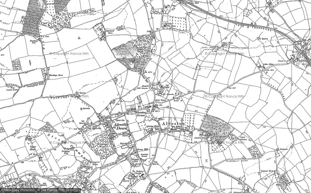 Old Map of Historic Map covering Alveston Down in 1879