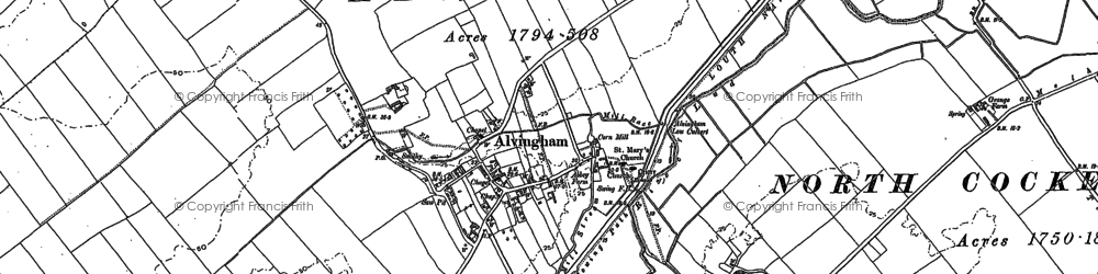 Old map of Alvingham in 1886