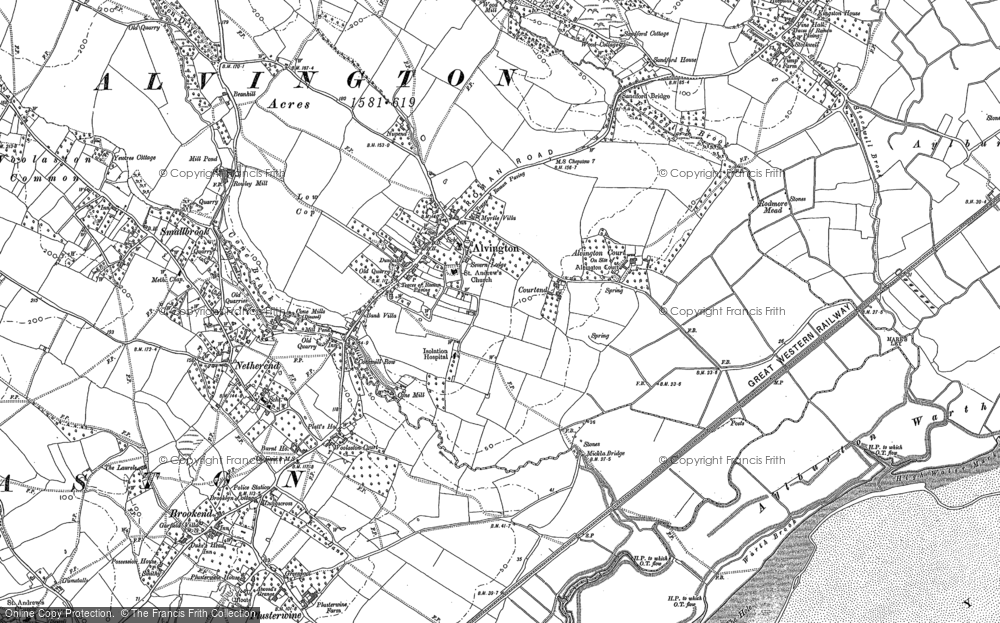 Old Map of Historic Map covering Aylburton Warth in 1880