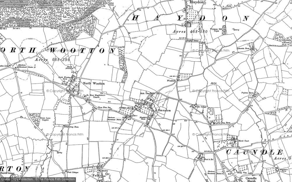 Old Map of Alweston, 1886 in 1886