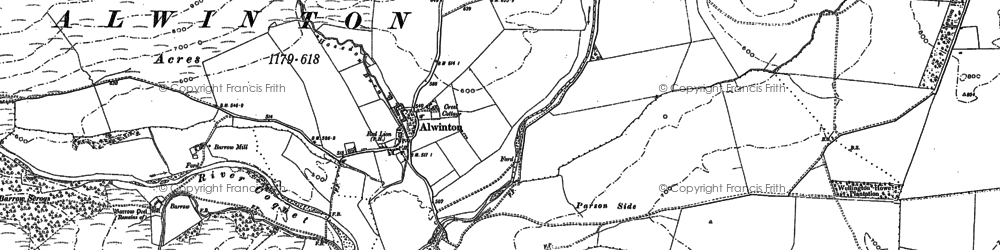 Old map of Harbottle in 1895