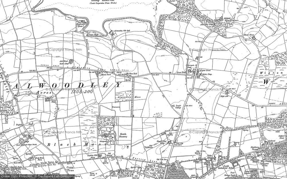 Old Map of Historic Map covering Alwoodley Park in 1892