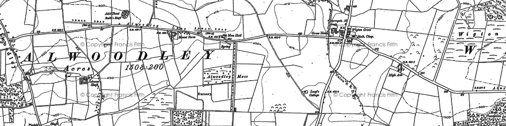 Old map of Alwoodley Old Hall in 1892